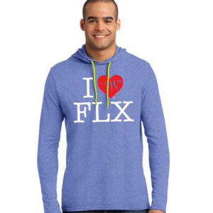 I Heart FLX - Hoodie - Heather Blue